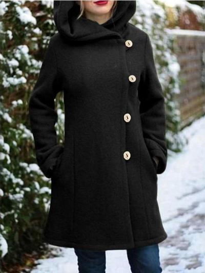 Fashion Pure Long sleeve Hoodie Trench Coats