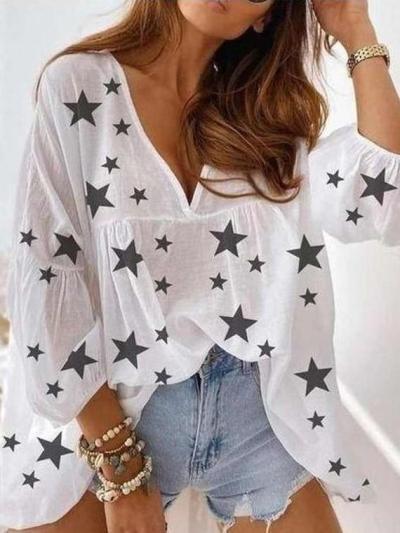 Casual Loose Star print V neck Long sleeve Gored Chiffon Blouses
