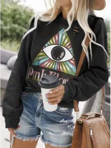 Fashion Casual Print V neck Long sleeve Sweatshirts