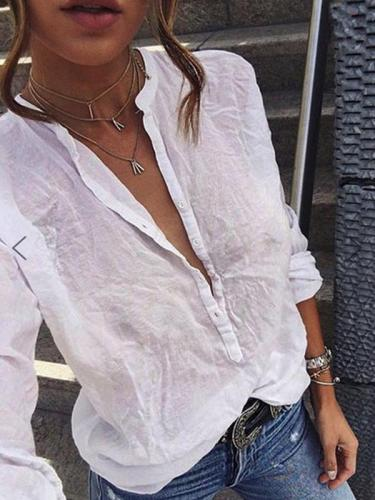 Long sleeve solid color casual blouses