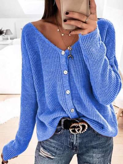Fashionable v neck button long sleeve loose cardigan sweater coats
