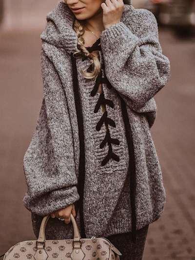 Fashion Casual Pure Lacing Long sleeve Hoodies Sweatshirts