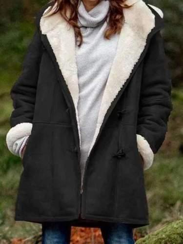 Women hoodied plain warm long coats