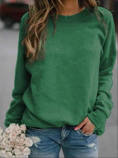 Solid colour long sleeve round neck T-shirts top for women