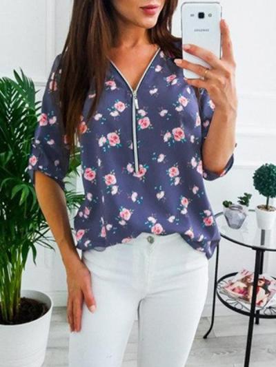 Floral printed women v neck zipper long sleeve blouses