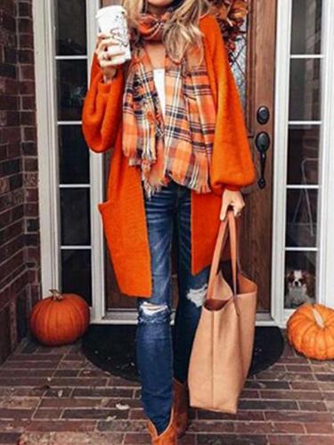 Woman Plain Young Fashion Knitting Cardigan Coat