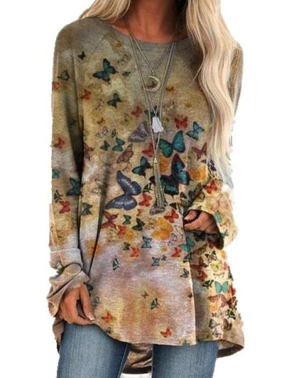 Fashion Casual Print Round neck Long sleeve Plus T-Shirts