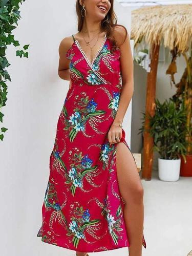 Vest Floral V neck Maxi Dresses
