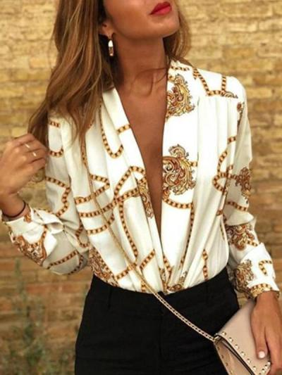 Long sleeve printed top women blouses