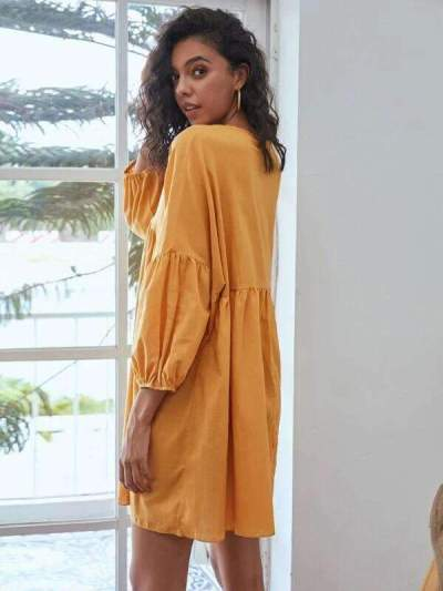 Casual Loose Pure V neck Long sleeve Gored Shift Dresses