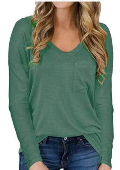 Casual Pure V neck Long sleeve Pocket T-Shirts