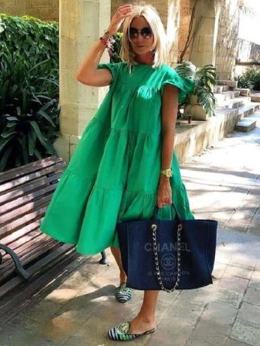 Casual Loose Pure Round neck Short sleeve Falbala Shift Dresses