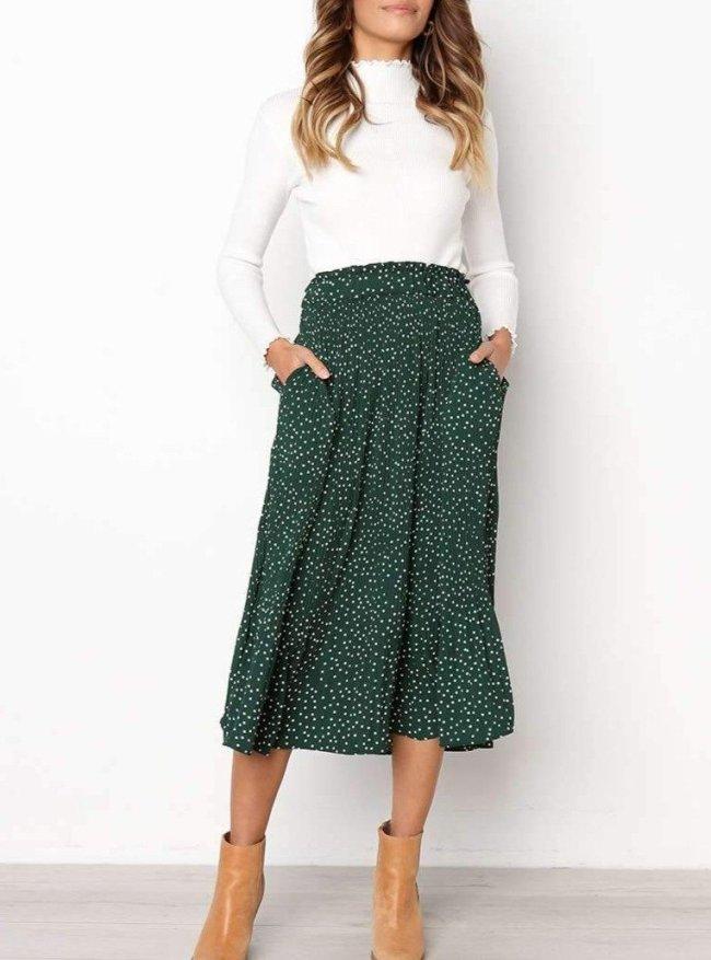 Fashion Point Drape Printed Long Skirts Women Dresses