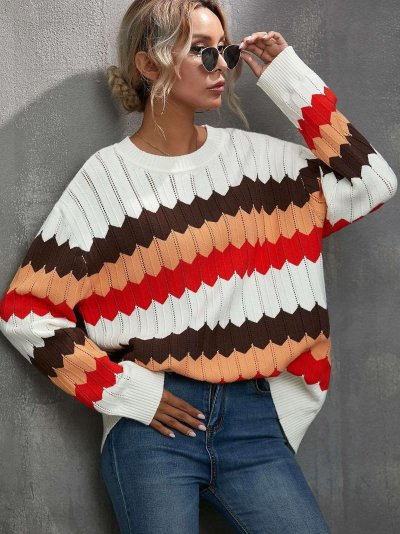 Fashion Casual Wave line Round neck Long sleeve Sweaters