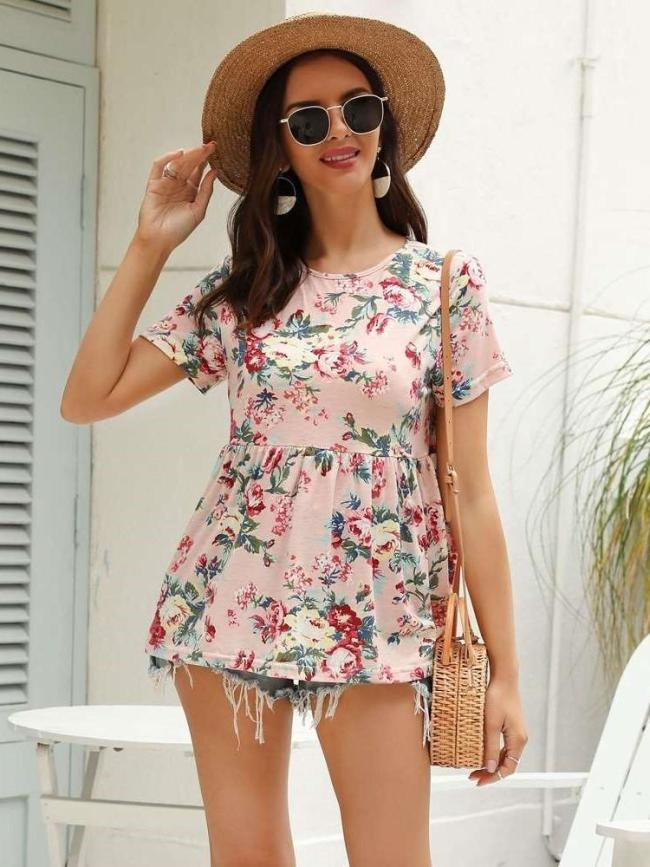 Fashion Round neck Print Short sleeve T-Shirts