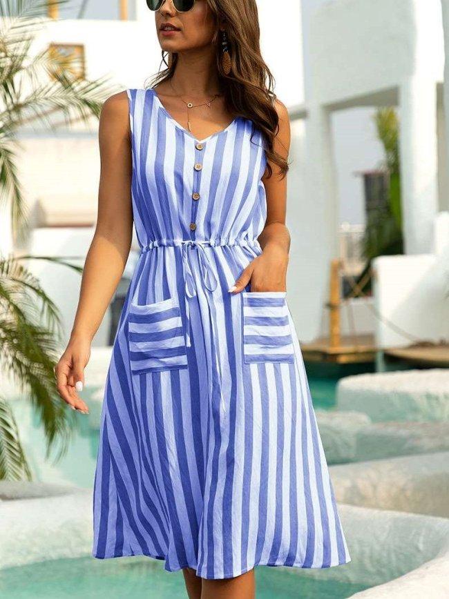 Fashion Stripe V neck Sleeveless Pocket Lacing Skater Dresses