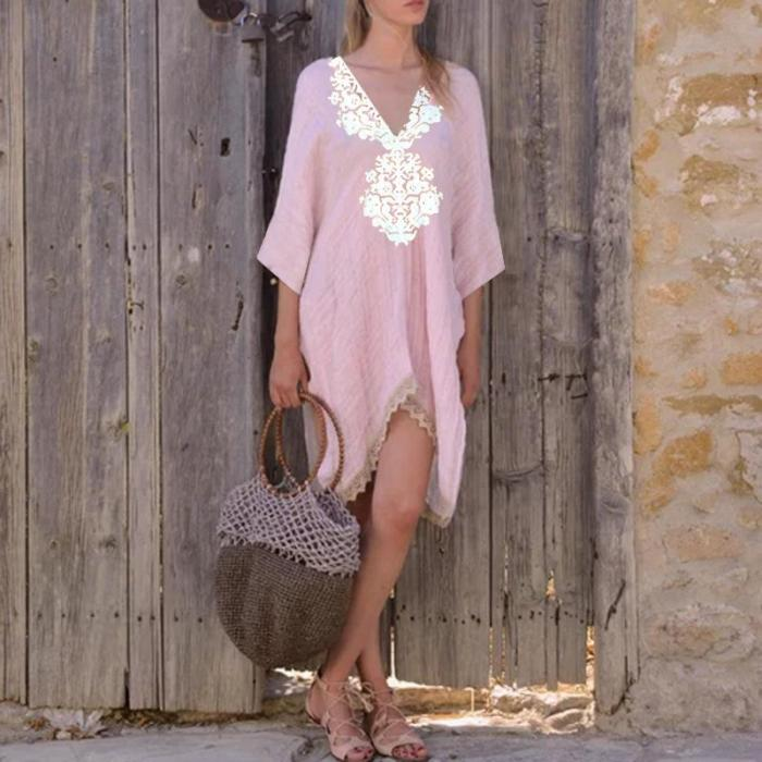 V-Neck Lace Stitching Bat Sleeve Casual Dresses