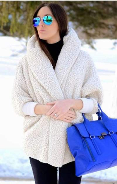 Fashion Loose Plush V neck Coats