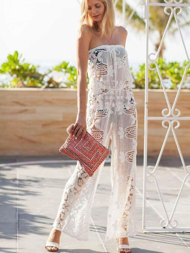 Fashion Casual Lace Hollow out One shoulder Jumpsuits