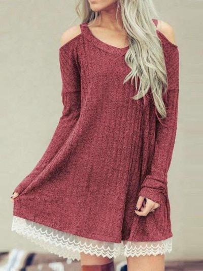 Fashion Lace Long sleeve Off shoulder V neck Shift Dresses