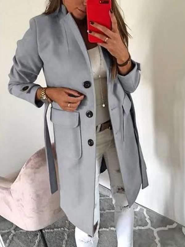 Slim wool turn down neck women long sleeve plain coats