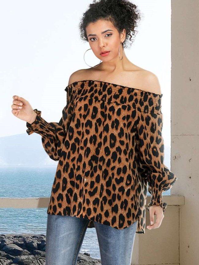 Fashion Leopard print One shoulder Long sleeve T-Shirts