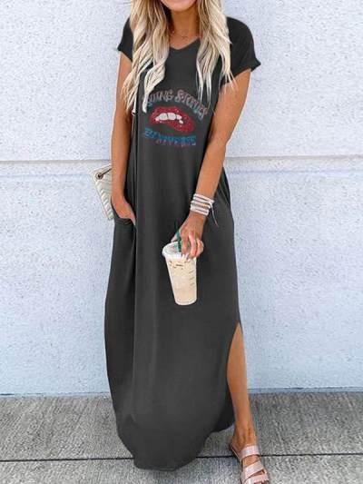 Fashion round neck Loose short sleeves lip printed maxi dresses