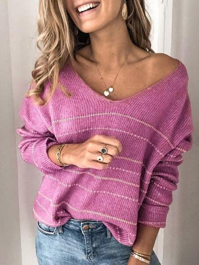 Casual striped v-neck sweater tops
