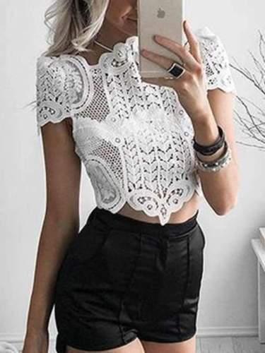 Short Lace White Shirt