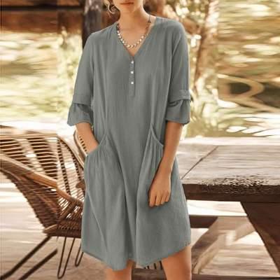 Fashion Casual Pure V neck Half sleeve Pocket Shift Dresses