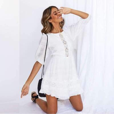 Casual Pure Lace Hollow out Round neck Backless Half sleeve Skater Dresses