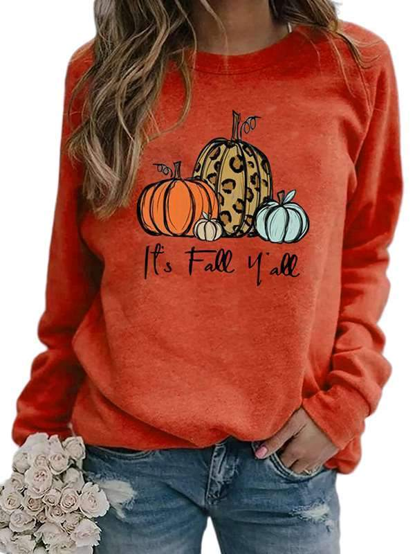 Pumpkin printed round neck long sleeve sweatshirts
