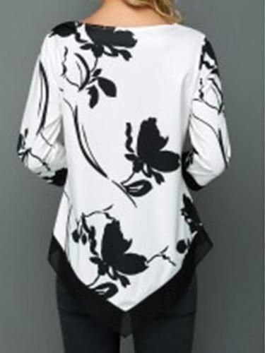 Round neck printed women casual inregular hem T-shirts