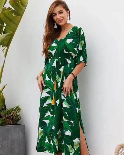 Fashion Print V neck Lacing Maxi Dresses