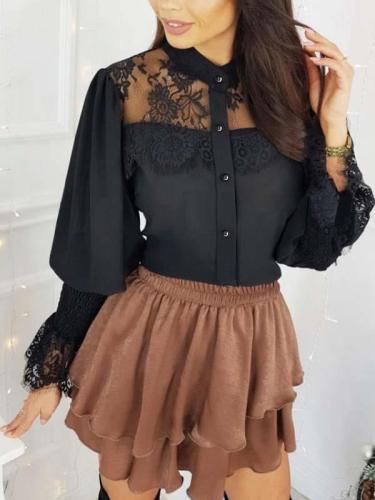 Elegant lace stitching band neck long sleeve blouses