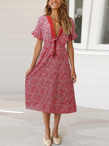 Bohemia Floral Printed V neck Vacation Dresses