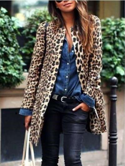 Fashion Casual Leopard print Long sleeve Coats