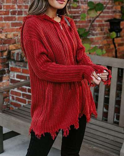 Causual Loose Pure Knit Long sleeve Hoodies Cardigan