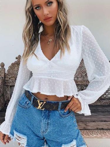 Fashion Casual V neck Long sleeve T-Shirts