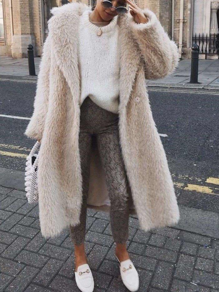 Fashion Casual Pure Plush Lapel Long sleeve Coats