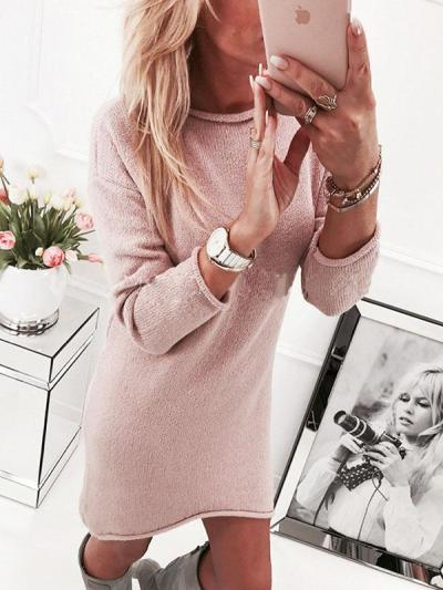 Round Neck Long Sleeves Solid Color Long Sweater Dress