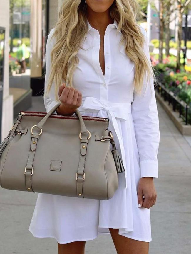 Fashion Lapel Long sleeve Lacing Skirt Skater Dresses