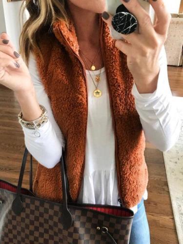 Brown Faux Fur Collar Zipper Plain Woman Vests