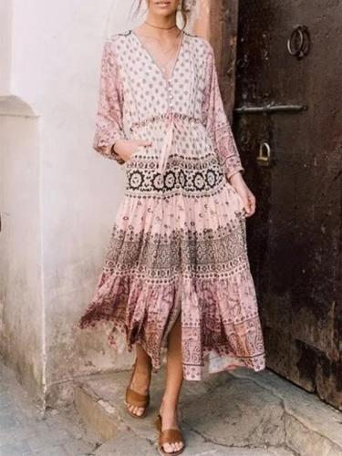 Fashion Women Printed Long Sleeve Long Vaccation Dresses