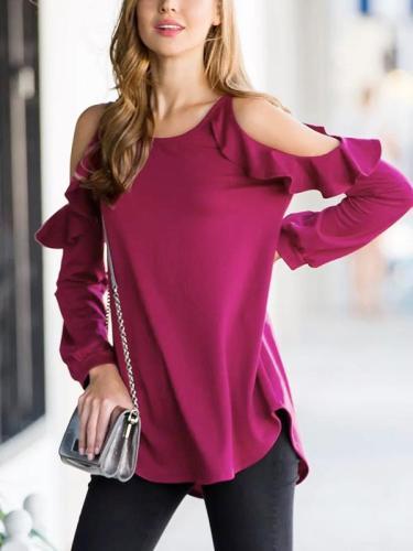 Woman off shoulder Flouncing Fashion Long Sleeve T-shirts