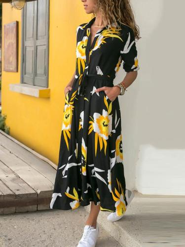 Single breasted long sleeve printed belted high-waist maxi dresses