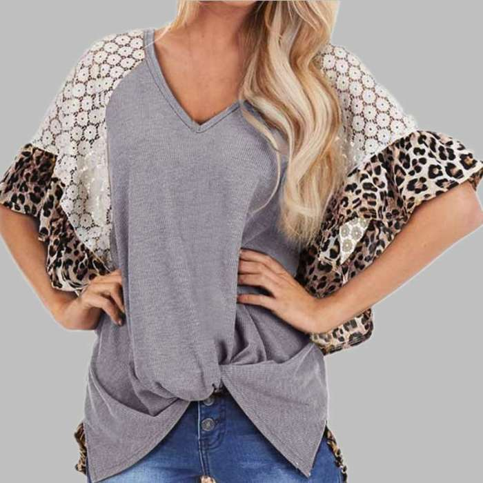 Loose Casual V neck Gored T-Shirts