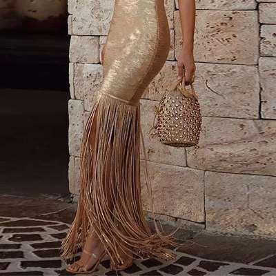 Sexy Vest Tassels Golden Evening Dresses