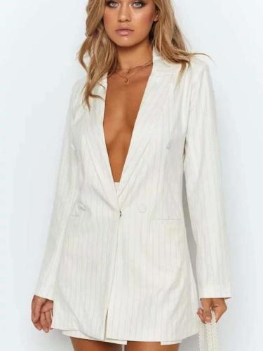 Fashion Casual Stripe Long sleeve Double-breasted Blazer
