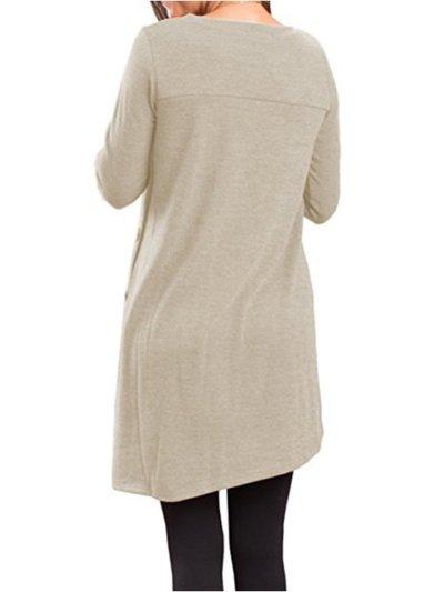 Long Sleeve Casual Buttoned Asymmetric T-Shirt